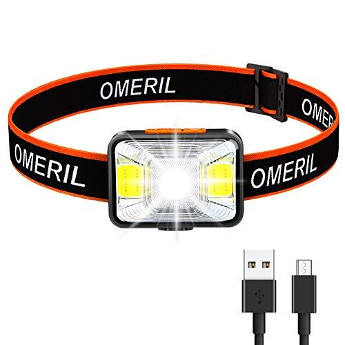 OMERIL Stirnlampe LED Wiederaufladbar USB Kopflampe Stirnlampe Kinder, Sehr hell, wasserdichte Mini Stirnlampe...