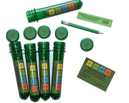 geo-versand 5 x Petling 13cm + 5 x wasserfeste Logbücher + Stift + Aufkleber komplett Set Paket Geocaching...