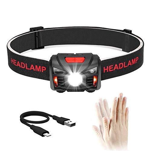 Winzwon USB Wiederaufladbare LED Stirnlampe Kopflampe, Sehr hell, Wasserdicht Leichtgewichts Mini stirnlampen...