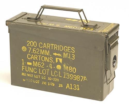 Originale gebrauchte Munitionskiste der U.S. Army für 200 Patronen Kaliber 7,62 Metallkiste Mun-Kiste...