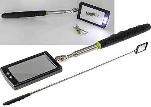 Teleskop Spiegel Werkzeug mit LED Beleuchtung Handspiegel Ausziehbar 28-88cm mit Softgriff I Schwenkbar