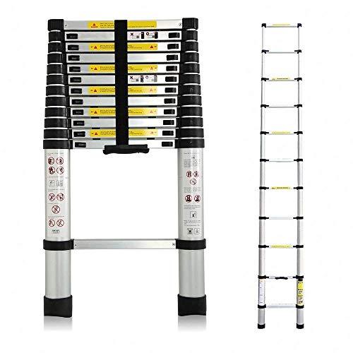 3,8M Teleskopleiter, Mehrzweckleiter Aluminium, 150 kg/330 Pfund Belastbarkeit, Ausziehbar Aluleiter,...