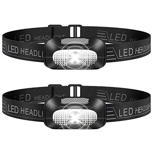 Stirnlampe LED, 2 Stück Leichtgewichts Kopflampe, Superheller USB Wiederaufladbare Wasserdicht Stirnleuchte...