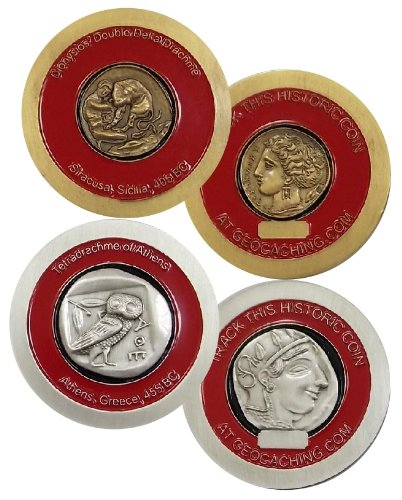 Cache Zone's GPS Geocaching Historic Drachme Geocoin Set & Geocache