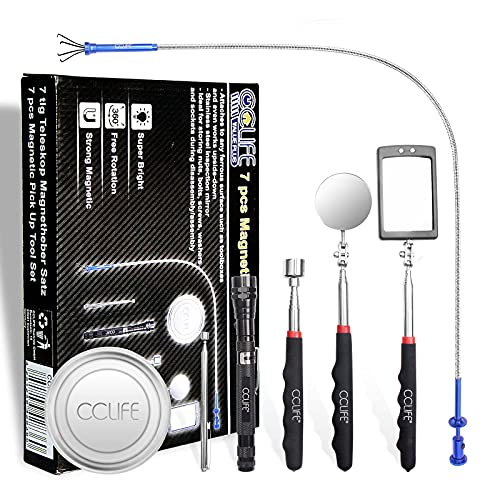 CCLIFE 7tlg Pick Up Tool Magnet Teleskop Werkzeug inkl. Inspektionsspiegel Krallengreifer Magnetheber mit LED...